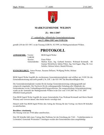 Protokoll der 17. Gemeinderatssitzung - Wildon