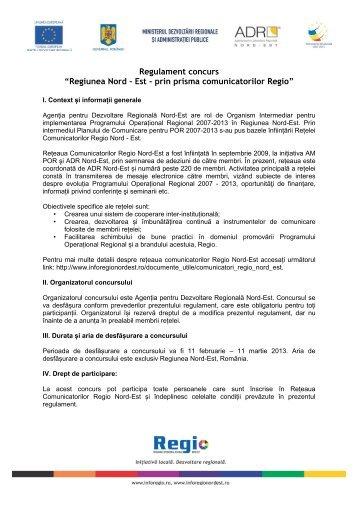 Regulament concurs - Agentia pentru Dezvoltare Regionala Nord-Est