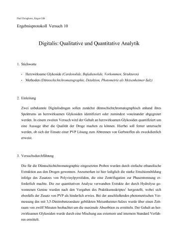 Digitalis: Qualitative und Quantitative Analytik