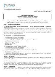 Faculté d'Economie et de Gestion ANNEE UNIVERSITAIRE 2012 ...