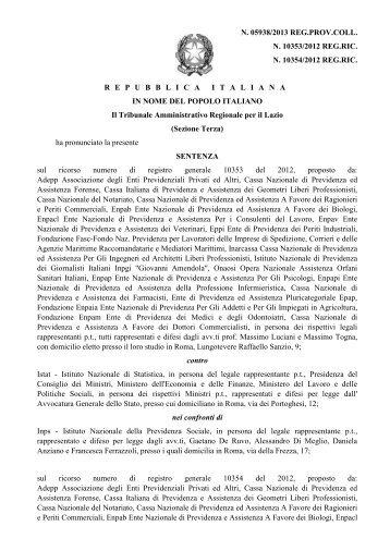 Sentenza TAR del Lazio 12giu2013 - Respinto Ricorso ADEPP - Asia