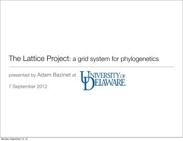 a grid system for phylogenetics - The Lattice Project - University of ...