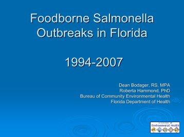 Foodborne Salmonella Outbreaks in Florida 1994-2007