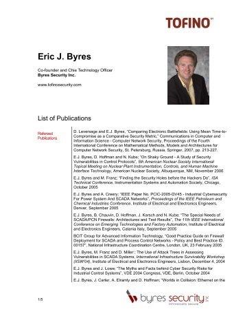 Eric J. Byres - Tofino Security
