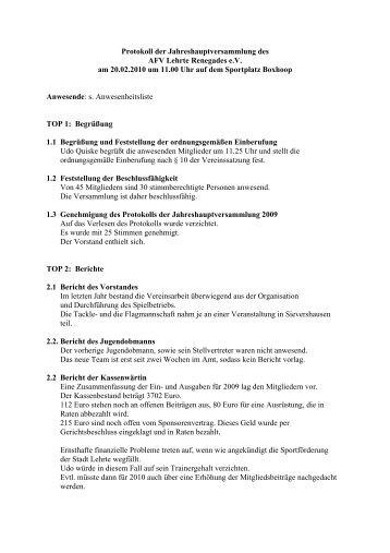 Protokoll der Jahreshauptversammlung des AFV Lehrte Renegades ...