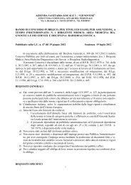 Concorsi - ASL n.3 Genovese