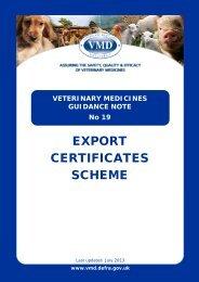 Export Certificate Scheme - Veterinary Medicines Directorate - Defra