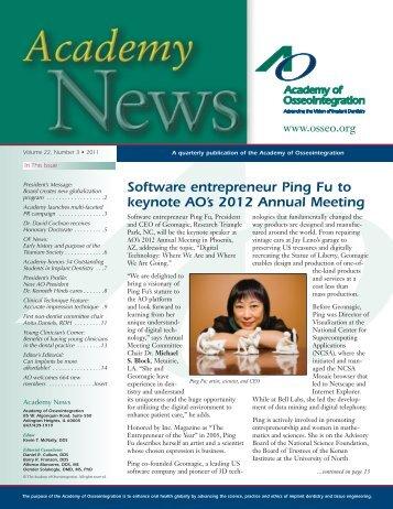 Software entrepreneur Ping Fu to keynote AO's 2012 Annual Meeting