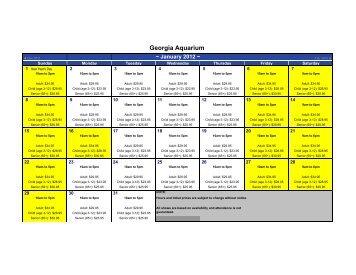 Pricing Calendar - Georgia Aquarium