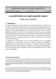 Le qualità delle cure negli ospedali svizzeri - analisi di sei indicatori