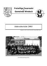 Gemeinde Windeck Jahresbericht 2003 - Feuerwehr Windeck