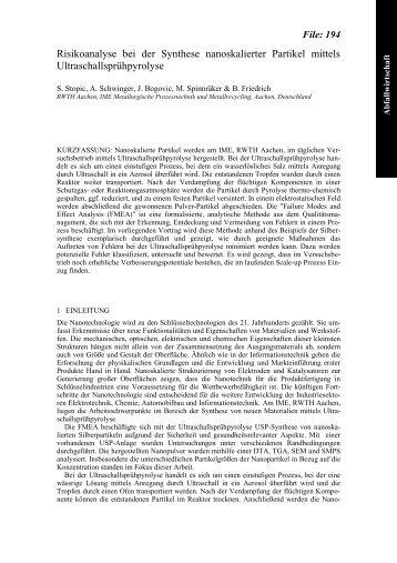 Risikoanalyse bei der Synthese nanoskalierter Partikel ... - beim IME!