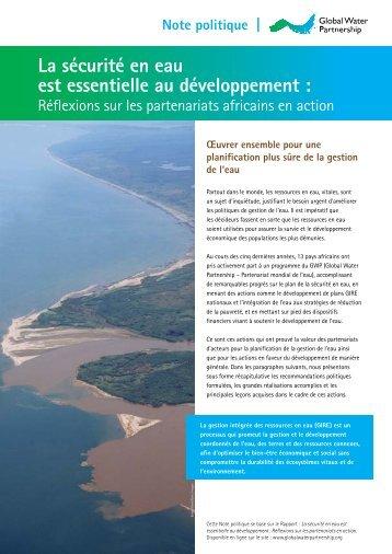 La sécurité en eau est essentielle au développement - Global Water ...