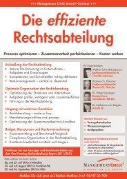Seminar: Die effiziente Rechtsabteilung - Management Circle AG