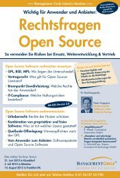 Seminar: Rechtsfragen Open Source - Management Circle AG