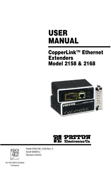 CopperLink Ethernet Extenders Model 2158 ... - ARC Electronics