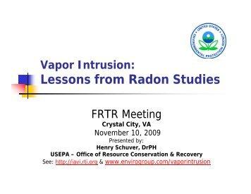 Vapor Intrusion: Lessons from Radon Studies