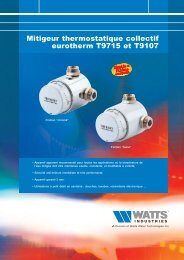 Mitigeur thermostatique collectif eurotherm T9715 ... - Watts Industries