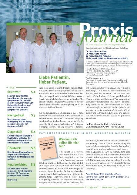 Praxis - Schwerpunktpraxis für Hämatologie und Onkologie