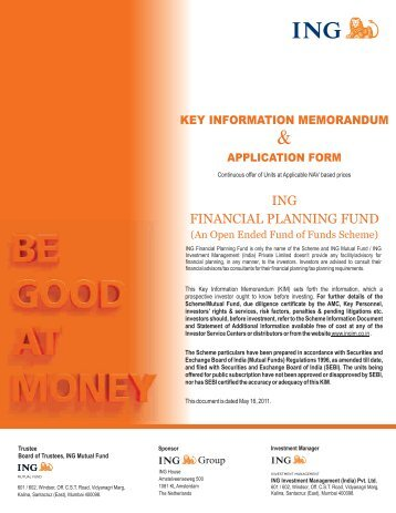 ING Financial Planning Fund KIM & Application Form