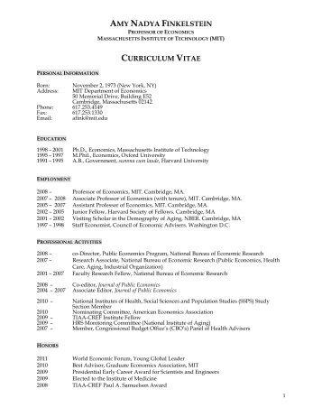 AMY NADYA FINKELSTEIN CURRICULUM VITAE - Academic Room