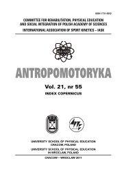Antropomotoryka nr 55.indb - Akademia Wychowania Fizycznego w ...