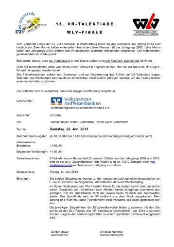 Ausschreibung - Württembergischer Leichtathletikverband