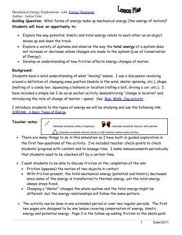 Lesson Plans For Energy Skate Park 4pdf Phet