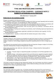 tyne and wear building control building regulation charges