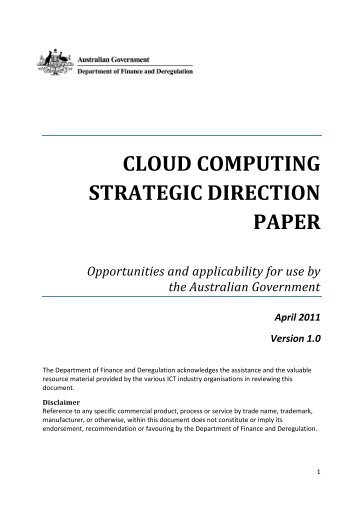 Cloud Computing Strategic Direction Paper - About AGIMO