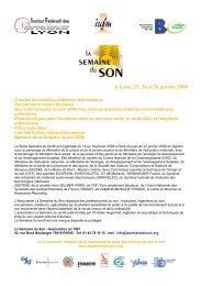 Téléchargez le programme - La Semaine du Son