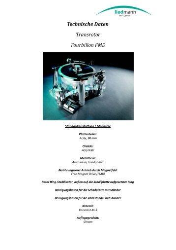 Technische Daten Transrotor Tourbillon FMD - Liedmann.de
