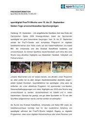 sportdigital FreeTV-Woche vom 15. bis 21. September: Sieben Tage ...