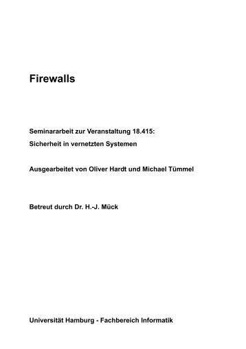 1 Klassische Firewalls - Fachbereich Informatik - Universität Hamburg