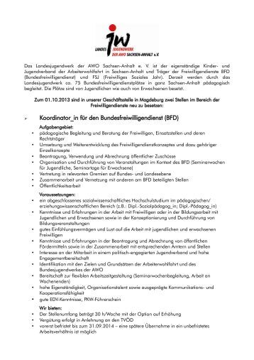 koordinator_in fr den bundesfreiwilligendienst bfd - Bufdi Bewerbung
