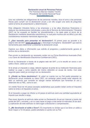 Tips para presentar su declaración anual de Personas Físicas - IMEF