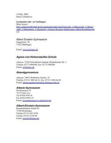 Albert Einstein Gymnasium Agnes-von-Hohenstaufen-Schule ...