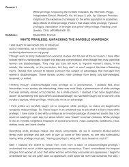 WHITE PRIVILEGE: UNPACKING THE INVISIBLE KNAPSACK