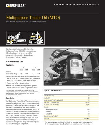 Multipurpose Tractor Oil (MTO) - Peterson CAT