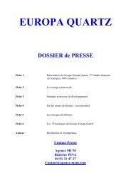 Dossier de presse Europa Quartz - Agence MCM