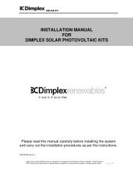 installation manual for dimplex solar photovoltaic kits