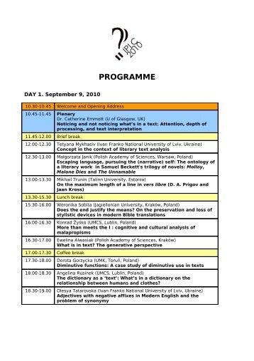 Download IPLC 2010 programme (PDF) - Lublin