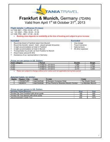 Frankfurt & Munich, Germany (7D/6N) - Tania Travel