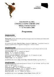 Programma - Festival del Cinema Latino Americano a Trieste