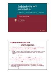 Analisi dei dati e fonti statistiche per la comunicazione Rapporti di ...
