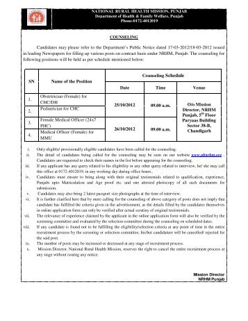 Counselling Schedule & List of Eligible Candidates for Counselling ...