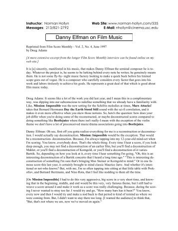 Danny Elfman on Film Music - Norman Hollyn's Home of Film Editing