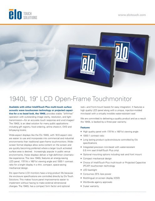 Specifications - Elo Touch Solutions