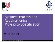 Business Process and Requirements: Moving to Specification
