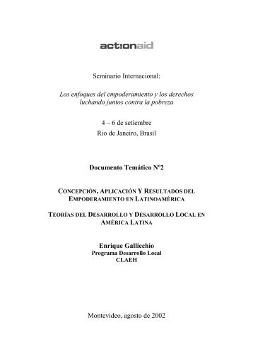 Seminario Internacional - Recursos de Desarrollo Humano Local